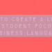 Creating a lesson focused on business language
