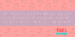 Is it necessary to teach solely in the target language in order to acquire a foreign language? TEFL Trainer